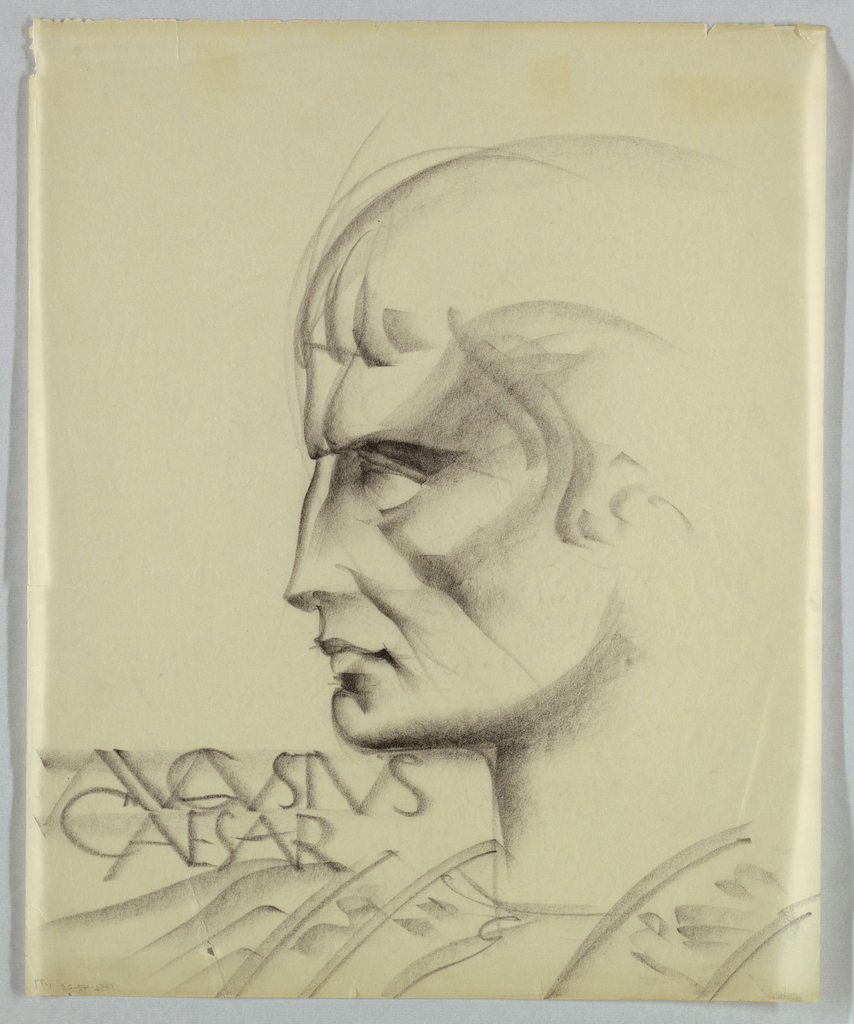 The source of the chiseled appearance of the head is ancient Roman sculpture; the features look carved rather than drawn. This style is supported by the use of heavy shading throughout, especially around the eye and cheekbone. The hair style, as found in ancient views of Augustus, is close-cropped with bangs, depicted by short strokes in the present drawing. August/ Caesar appears in capitals on the lower left, just above the shoulder and beneath the chin.