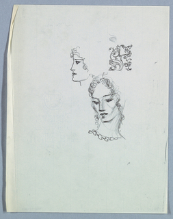 Positioned on a long neck, a female head, inclining downward and leftward, is in the center of the page. Curly hair frames the face stops just below chin level; downcast eyes under straight brows, a straight nose, and full, closed lips comprise the facial features. Shading is prominent on the right side of the face and neck. A ruffled neckline completes the design.   An additional view, of a female in left profile, appears just above to the left. The features are similar to, but less detailed than, the frontal view, and shading is absent.  An ornament is situated to the right of the profile.