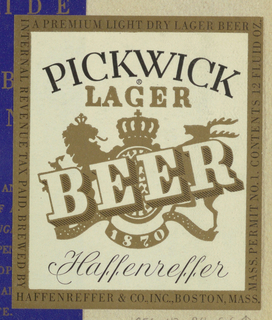 On an off-white background, Pickwick, curved upward, is imprinted across in black serif style capitals. Centered directly underneath, the gilt-colored design is composed of Lager, in somewhat smaller capitals, heading a heraldic composition in silhouette; the central image is a crown-and-shield, flanked by a lion and a reindeer, both in profile and standing on the ends of a curved ribbon, labeled 1870 in the center; beer, imprinted in three-dimensional style capitals, is superimposed on the diagonal, rising upward from left to right. Haffenregger, in an ornate black script, is imprinted across beneath the ribbon. The label is bordered in gilt and imprinted in black capitals A Premium Light Dry Lager Beer along the top and with additional product information along the sides and on the bottom.  Album, page 5.