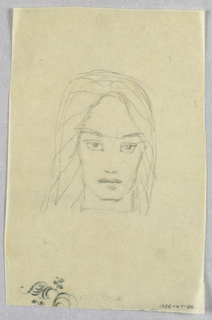 From a center part above a high forehead, heavy shoulder-length hair, formed by thin, diagonal lines, frames the square-jawed face. Widely spaced eyebrows over wide open eyes slant upward toward the sides of the face. A narrow column suggests the nose. The full lips are closed.  In the lower right hand corner is an incomplete scrolling leaf design.