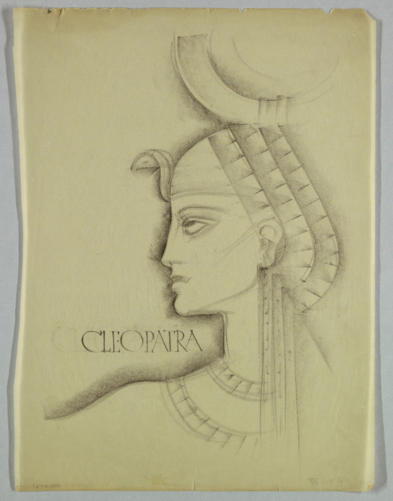 The present design incorporates features associated with portrayals of Cleopatra in Egyptian art: a curved asp sits on the forehead; the headdress, comprised of three layers, is rounded at the back of the head, has vertical extensions beginning underneath the ear and falling straight downward over the shoulder, and is topped by a large disk. The features - thin, straight nose; full mouth; rounded chin - are not, however, in the Egyptian style. The profile and left shoulder are heavily shadowed. Cleopatra, is serif-style capitals, appears on the left in the space above the shoulder and ends beneath the chin.