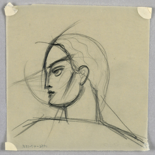 A dark line depicting both the profile contours and facial features is especially heavy in the eyebrow, extending sharply upward from the top of the nose to the hairline; the diagonal line from ear to chin level; and the neck and shoulders. A few thin, wavy lines indicate the hair on the back of the head, which is rounded.