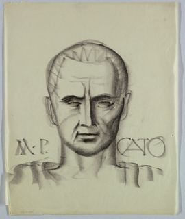 The source of the chiseled appearance of the head is ancient Roman sculpture; the features look carved rather than drawn. This style is supported by the use of heavy shading throughout. Although the eyes are barely opened, the left focuses directly on the viewer. A slight smile plays on the closed lips. These features seem to signify assertiveness and determination. Just above the shoulders, M. P. (left) and Cato (right) appear in capital letters.