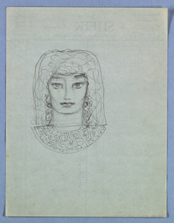 In the preset full frontal view, the square-shaped face is rounded at the jawline and the large eyes glance upward, but at the same time, at the viewer. A large, shoulder-length headdress, patterned in squiggles, and framing the face, and a wide semicircular matching collar evoke an ancient Egyptian style.