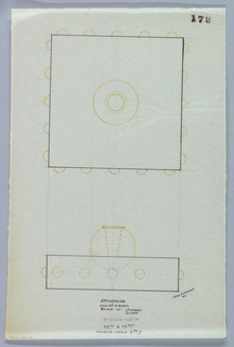 Spherical holder indicated in yellow pencil to be executed in vermeil set within a square base drawn in plan and elevation whose sides are decorated with five studs indicated in yellow color pencil to be executed in vermeil. Underdrawing in graphite of geometric measurements.