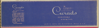 "The present object, which in its original form would have been wrapped around the product, has been flattened. The product name, Curado, is imprinted in a hand-lettered and vertically styled script, imprinted in white on a navy blue background. Further product information, as well as a horizontal, wavy-lined border at the top and bottom edges, are imprinted in pale pink. Wherever the letter ""R"" appears among the serif-styled capitals featured in the copy framing Curado, it curves out and downward, extending in a distinctive fashion below the line of type ."