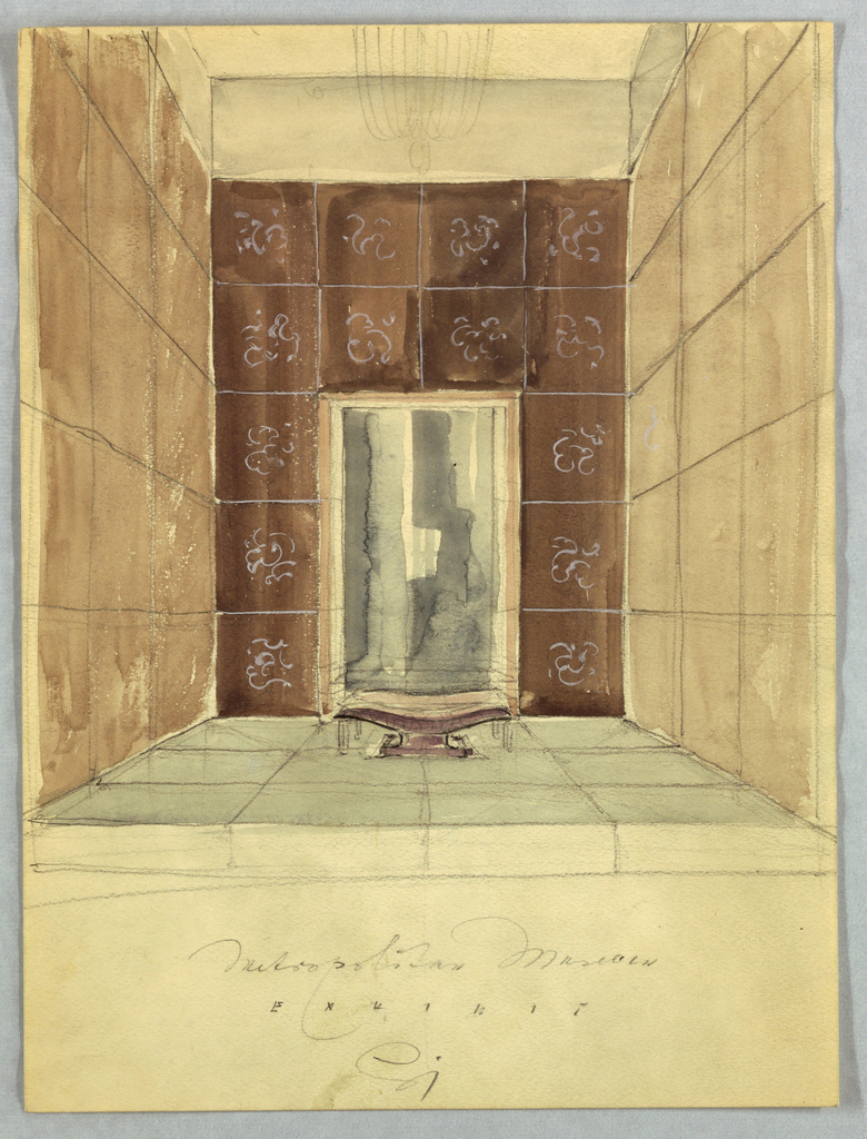 In this view of a room installation for an exhibition at the Metropolitan Museum, a central and two lateral walls sit on a raised platform. The foliate pattern of the wall and floor tiles present in the actual installation is depicted only on the back (central) wall in the present view. On that wall, a vanity, consisting of a wall mirror and shelf, is inserted in a central niche located between the floor and the top of the third of five levels of tiles. A curved bench is placed in front of the vanity and a chandelier is centered overhead. Metropolitan Museum/ Exhibit appears below, followed underneath by Jensen's signature.  See 1956-47-81 for a more detailed view of the installation.