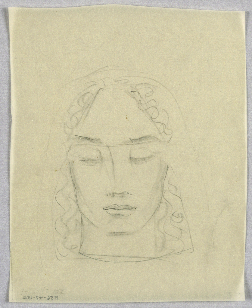 In this view, the full face is squared off at the chin; the heavy eyebrows slant upward; the nose is comprised of a curved vertical line and a wavy horizontal line and shading depicting the nostrils; and the lips are full and closed. Curly, shoulder length hair divides at a center part. Faint lines framing the hair may represent a headdress.