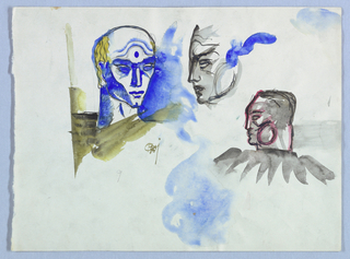 Three heads, here identified as numbers one, two and three, are depicted as if sculpted in an antique style. In the upper half, number one is placed to the left of center and number two just to the right of center. Number three is placed center right. Used throughout, the black, and especially the blue washes, appear to have bled.  Number one: In this head-and-neck-view of a man, the head is turning right. A curved double line separates the crown from the forehead, and a blue dot above the nose marks the forehead's center. The crown of the head is blank, but a few strands of hair, drawn in waves over a gold wash, appear on the left from the top of the head to below ear-level. Heavy brows, almond-shaped eyes, a chiseled bone structure and a squared-off chin comprise the dominant facial features. Jensen's initials are imprinted below the neck on the right.   Number two: In left profile, this head of a man has a thick, curved shape in blue attached on the right, possibly representing the winged headgear of the Roman messenger god, Mercury.  Number three: In left profile, this square-shaped head and neck of a man sits on shoulders adorned by a ruffle. The pink highlights in the face may have faded from red.