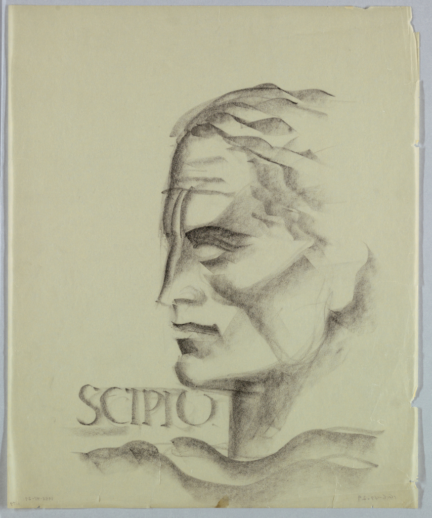 In the present view of a man in left profile, dark lines and heavy shadows prevail. Shading is particularly heavy in the cheek and neck. Two furrowed lines extend downward from the forehead to the nose. Scipio, in antique Roman style capitals,  appears on the left in the space between the chin and shoulder.