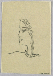 The profile, in dark outline, depicts a high forehead; long nose turned upward at the tip; full, closed lips; and rounded chin. The eyelid and empty eye socket are also depicted in outline. A curved line framing the face on the left serves as one edge of a headdress, limited here to a border, in a scrolling pattern. Long, dangling, three-tiered earrings in a geometric pattern extend to the lower edge of the neck, where they stop short of the curved, patterned necklace (or neckline).