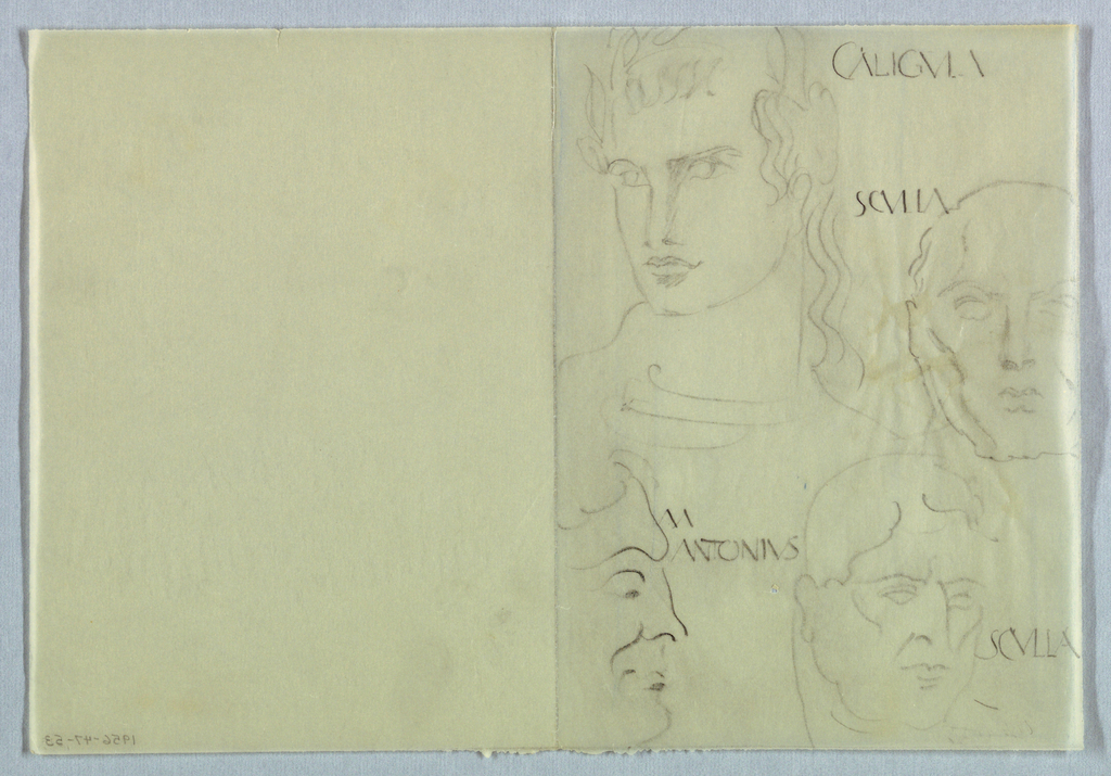 Drawing, Four Male Heads in Ancient Roman Style