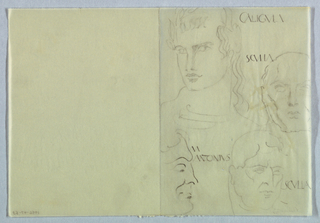 Four heads, three in frontal view and one in profile, are lightly sketched in the right half, and are labeled in ancient Roman-style capital letters. The heads are styled in the manner of ancient Roman sculpture or coin portraiture. On the top left, the head of a young man, turned toward the left, is dressed in wavy hair cascading down the right, and shows vestiges of a laurel wreath on top. He is identified as Caligula, imprinted next to the head on the top right. On the right, slightly below, the head of a mature man is abbreviated by the right edge of the page. The subject appears to be almost bald, with a few strands of hair sketched on the left. The label, to the left of the top of the head, reads Sculla. On the bottom right, the head, turning toward the right, shows a full head of wavy hair styled close to the scalp; he is also identified as Sculla, imprinted to the right of the head. The head on the lower left, in right profile, is delineated more sharply than the other three; the eyebrow, nose, hairline and cheek are depicted in curvaceous outline. The label, M[arc] Antonius, is imprinted to the right of the head at forehead l