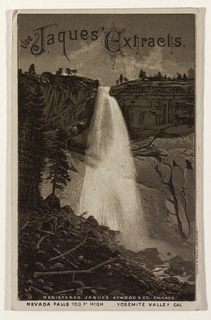 "Card with sepia toned lithographic image of Nevada falls, Yosemite, viewed from below, printed on the recto. Across the upper portion of the card, in an elaborate font are the words ""Jaques' Extracts"". The verso provides text relating to the purveyor of groceries, provisions and general baking goods."