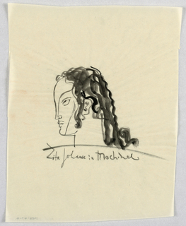 The profile outline depicts a high forehead, straight nose, curved lips, and rounded chin, ending abruptly in a vertical straight line for the neck. The hair is drawn in thick wavy lines framing the side of the face and exposing the ear; covering the head; and cascading to shoulder length. A curved line on the face runs from the hairline to the nostril and another extends from eye level to the chin. The almond-shaped, diagonally-placed eye looks upward. The curved line of the eyebrow continues downward in an unbroken line, ending at the nostril.   A curved line directly underneath the head is followed by Zita Johann in Machinal, in script.