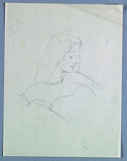 The right-profiled head of a female with a long neck is slanted downward from right to left and centered in the upper half of the page. The direction changes in the torso, so that the body, cut off at the waist, is placed on the diagonal from left to right. A full head of shoulder length hair is trimmed in ringlets edging the face. The eye is cast downward, while the eyebrow slants upward toward the slightly tilted nose; shading appears under the lips and along the chin line. Rounded shoulders end in abbreviated arms. A scalloped neckline and suggestion of a strapless bodice complete the design.