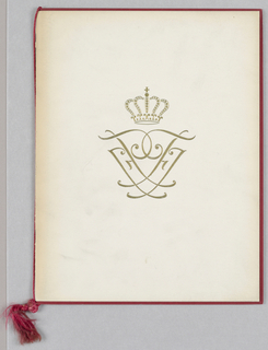 An image of the Danish royal crown and an abstract-heraldic motif comprise the front cover design, depicted in raised gilt printing on off-white cardboard. The back cover is blank. The inner front and back cardboard covers in maroon form a narrow border on three sides of the outer cover. On the title program page, imprinted in script, four miniature versions of the cover design alternate with three lines of type in script: In Honor of Their Royal Highnesses/ The Crown Prince and Crown Princess/ of Denmark and Iceland. Four additional lines in smaller type appear underneath. On the four remaining pages, headed Menu, Program, Program and Music, capital sans-serif black type alternates with italicized red script. A tasseled silk cord secures the whole.