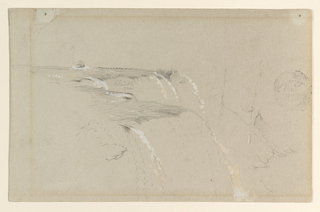 Recto: Horizontal view of the rim of the American side of Niagara Falls.  Verso: Horizontal view of falling water.