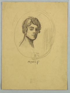 Sketch of a female figure within a ciracular frame.