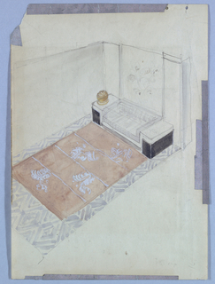 This diagonal representation of a design for a long, narrow room (or corner of a larger room) cuts away to a view of the back and left lateral walls. A foliate design, centered, hangs on the back wall; a low chest (or table) is placed on the floor directly underneath, its center section the same width as the hanging, and its side pieces raised a few inches above. A rectangular carpet with a central foliate design and geometric border extends from the back wall and underneath the chest, matching the width of the back wall and length of the room.