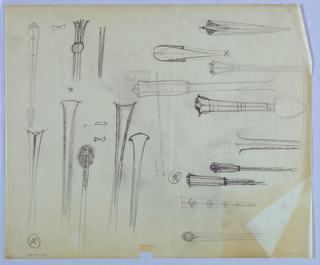Sixteen designs for table flatware handles, encompassing both unadorned and ornate styles, occupy the entire page. Designs are place horzontally in the left half and vertically in the right.