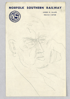 This view of a fleshy-faced man occupies the whole sheet, which was torn from a pad of paper. Many sketched lines, integrated particularly in the depiction of the eyes and nose, along with a protruding lower lip, convey an expression of displeasure or consternation. The right hand holds a telephone receiver close to the hidden ear. Norfolk Southern Railway is imprinted at the top of the page; the company logo appears just below on the left; and the name and telephone number of James R. Allen, an official, are imprinted on the right.  Perhaps Gustav Jensen sketched the present view while traveling by rail.
