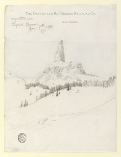 Vertical view of a monolithic mountain peak, silhouetted against white of paper, towers as one crest of ridge defined by a row of rugged vertical strokes signifying evergreen trees.