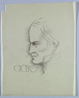 The profile outline from forehead to chin is heavily drawn and thickly shadowed. Shadows also delineate the cheekbone, ear, and neck, while wavy lines depict the hair, thinning at the top. Cicero, in antique Roman style, appears on the left, ending just underneath the chin.