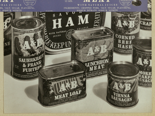 Assorted canned products manufactured under the A & B label comprise the present black and white photograph. A uniform design scheme is imposed on the variously shaped cans: the A & B logo in white block serif-style type superimposed on (color in the originals) photographs of the meat products, and additional white type specifying the products.