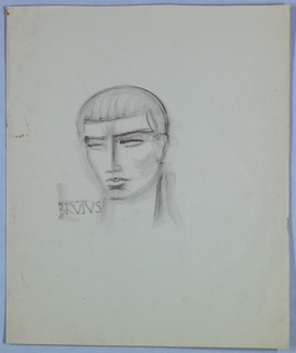 The head, tilted to the left, is crowned by hair styled close-to-the-head and sharply defined by a horizontal line in the center of the forehead. The eyebrows are delineated by dark horizontal lines, as are the slit-shaped eyes; the eyelids are shaded. The aquiline nose, full lips, and right cheek are also shaded. The crayon is heavily applied to the outline of the right side of the head and vertical line of the neck. Brutus is penciled in antique-style Roman capitals on the left at neck level.
