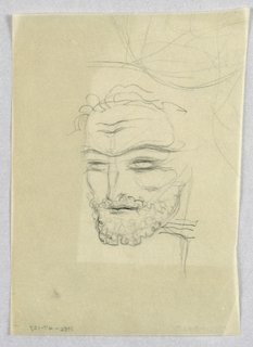 In the present view of a male head turning left, the predominant feature is his short, curly, full beard, which contrasts with the wisps of hair on the top of the head. The partially open eyes are shielded by a unibrow, curved downward over the nose. The combined curved, dark line in the center of the mouth; furrows in the center of the forehead; and dark rims surrounding the eyes evoke cunning or wariness.