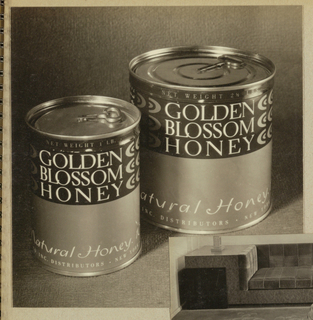 In the present black-and-white photograph, two cylindrical containers are placed on a textured background. (The actual color scheme is composed of dark green and gilt for the backgrounds and white for the type.) The larger container is positioned on the right, slightly behind the left-hand one. The identical product labels are imprinted Golden/ Blossom/ Honey in serif-style capitals on the dark background. One line of type in small capitals, stating the weight, appears above the product name. A partial view of the additional labeling in a hand-lettered style italicized type is imprinted close to the bottom edge, followed underneath by a line of type in small capitals.