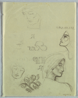 Recto: Of the five female heads in various attitudes, the most fully realized, on the left in the lower half of the page, is a left profile view. The hair, covered by a snood-like headdress, frames the face in a wave extending from the top of the head to the ear level, marked by a button earring. A curved line from the neck to the left indicates the shoulder and a scalloped edge forms the neckline.   Four additional less-finished views, along with lettering, varied in both content and style, are scattered over the page.   Verso: On the upper right, unusual, in capitals, and on the lower left, a foliate design, appear on the page.