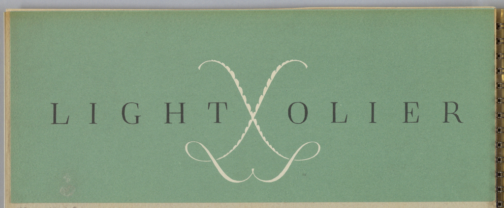 """On a green background, imprinted in white, the logo at the center is comprised of two intersecting letters """"L"""" in a hand-lettered script style. Diagonally placed in reverse positions, the two letters intersect to form an abstract figure. The """"x"""" formed by the two letters is scalloped. The company name, Lightolier, is imprinted across the center in black serif-style type, and is divided by the logo placed between the """"T"""" and the """"O."""""""