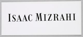 Isaac Mizrahi, in black Bodoni capitals, with the initial letters of both names in larger type, is centered on the white page.