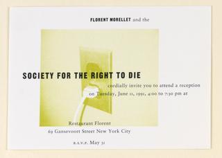 Postcard, Restaurant Florent:  Right to Die