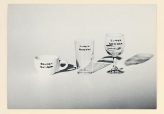 Postcard, Restaurant Florent:  Coffee cup, water glass, wineglass