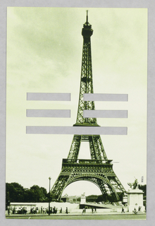 Recto: Held vertically, the postcard, in tones of green,  features a photographic image of the Eiffel Tower against a cloudy sky. At the bottom edge, pedestrians, for the most part visitors to the site, are gathered on a sidewalk. Dense bushes, to the left and right of the tower; a lamppost in the left foreground; two elevated statues; and distant buildings complete the scene. Three cut out horizontal bars, centered and underneath each other, puncture the mid-section of the tower. The uppermost and middle bars are incised to the left and right of the solid center, while the bottom bar is unbroken.  Verso: Now held horizontally, the card shows the cut out bars positioned vertically in the center; the broken bars are in the left-most and middle positions and the unbroken bar is right-most. In the upper left-hand corner, the name, address and telephone number of the restaurant are imprinted on three lines. The restaurant logo appears in the upper right-hand corner.