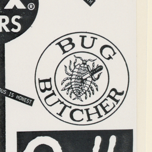 Souvenir folder: On the textured paper, orange colored cover, diagonally from the lower left to the upper right, Souvenir is imprinted in bold sans serif type upper case, with identical six-spoked ideograms at the beginning and end of the word. On the inside flap (right), Fresh is imprinted vertically in a type resembling Fraktur; AIGA/N. Y. is imprinted near the upper edge and 6-4-86 near the lower.  Invitation: Recto - On the left, centered, five lines type of calligraphic type comprise an invitation to the symposium. Two additional lines directly below; two diagonal lines on either side; and the AIGA return address in the upper left-hand corner complete the left side. The right side, separated from the left by a thin line, is the recipient address panel, on which You are invited: is imprinted in the center in calligraphic type. Verso - The entire left side, headed A.I.G.A./N.Y in calligraphic type, states the symposium theme, Design without Designers, imprinted in the same type, and continues with commentary in a humorous vein, in a sans serif type. The right side, featuring three columns headed Who? Who? and What?, are outlined and divided by thin lines; program speakers and subjects are listed within. An additional line of type, printed along the right-hand edge from bottom to top, credits the participants in the design and production of the invitation.  Folder contents: Seventeen black-and-white inserts in deliberately bargain basement production style are fictional advertisements characterized by jokes and puns, such as: See David and Jane prove again the die-hard Bauhaus notion that industry is art (insert a) and Tibor's Meat Specialties/ 1508 2 Av (insert b).