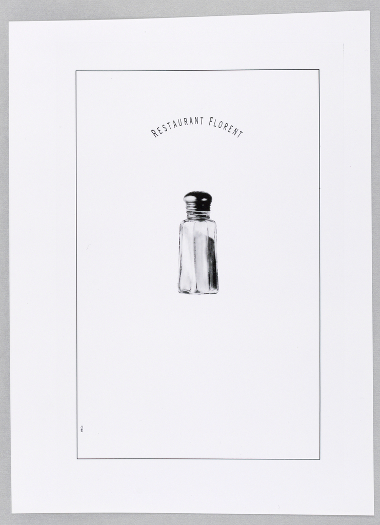 A photograph of a restaurant-style glass salkshaker with metal screw cap is centered within a rectangle, outlined by thin black lines, and occupying almost the entire page. Restaurant Florent, in thin capitals, appears above the image in a curved format. M&Co is imprinted vertically in miniature letters within the rectangle on the lower left.