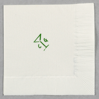 Recto (object closed): Positioned on the diagonal, on a white napkin, the design in green outline consists of a martini glass, with the capital letters C and G placed on opposite sides of the stem. The design is in a hand-drawn style.