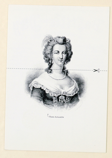 Recto: With the card in a vertical direction, the design consists of an image of an engraving of Marie Antoinette, Queen of France from 1774-1793, based on a contemporaneous engraving. Her gaze is focussed directly on the viewer and she appears to be smiling. Her bouffant wig is styled off-the-face in a pompadour and has curls cascading onto the sides of her neck. The ornamentation comprises a feather-and-jewel object entwined in the top of the hair; teardrop earrings; a necklace of a single strand of pearls, perhaps encircled by precious jewels; and in the center, just below the bustline, a brooch of round stones from which three teardrop jewels are suspended. The dress, cut off in the image above the waist, has what appear to be long sleeves, and an off-the shoulder neckline edged in a lace-trimmed scarf-like collar, knotted in the center, below which two vertical strips are superimposed, probably in a v-shape ending below the waist. Underneath the image, Marie Antoinette is imprinted in very small type; to the left of the M is a curved arrrow pointing to the image. A broken horizontal line extends from side to side across the neck, and close to the right edge, on the same line, is an illustration of an open pair of scissors. Verso: The card is divided horizontally into message and addressee spaces, with a thin black line separating the two. With the card in a vertical direction, the message emphasizes Bastille Day in large black handwritten-styled letters; the remaining information in the same style, but much smaller, letters is imprinted both above, on one line, and below in a curved line, with three columns side by side underneath. With the card in a horizontal direction, the rectangular stamp area on the upper right is occupied by an eighteenth century style straw basket with rope edging and handles. Post Card is on one line below, followed by three narrow lines underneath each other for addressee information.