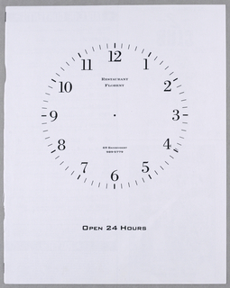 A round clock face, centered side to side, occupies the top two thirds of the page. The numerals 1-12 (the hours) are imprinted in dark type and encircled by lines (the minutes). Restaurant/ Florent is imprinted in small capitals underneath the 12 and 69 Gansevoort/ 989-5669 are imprinted above the 6. There are no clock hands, but there is a black dot in the center where clock hands would normally be attached. Open 24 Hours in larger capitals appears a short distance below the clock.