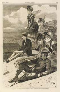 Six sightseers look at the view from atop Mount Washington.  In the foreground, a man rests on his elbow with his walking stick and two finely dressed women crouch(?) behind him, the woman closest to the foreground is smelling a bottle.  In the left middle ground, another man sits holding his walking stick with two women behind him, one standing and one sitting (?).  Below the group on the left is the Tip Top House, the hotel at the summit of Mount Washington.  In the background, people on horse back.