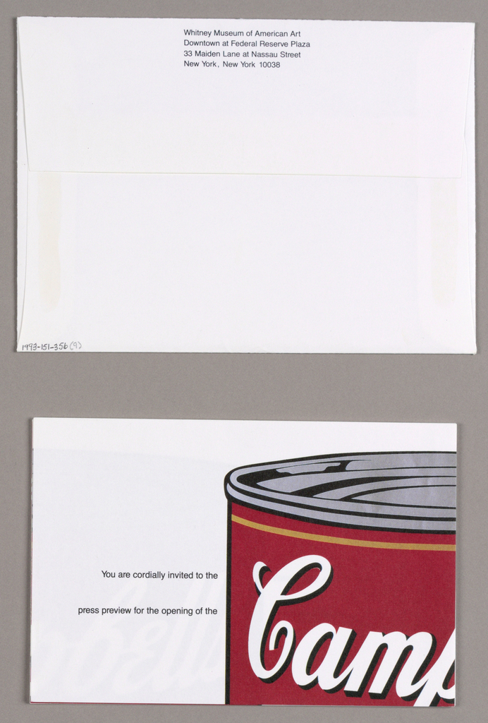 The design consists of eight rectangular segmentsof equal size, which when stacked, are inserted in an envelope for mailing. When assembled, the design is composed of four rows of two segments each. An image of a can of Campbell's tomato soup, excerpted from Andy Warhol's Tomato, emerges, occupying the center of rows 1, 2 and 3. Tomato red is predominant in the upper half of the image and repeats in the word tomato in the lower half. Campbell's, in white script outlined in black, is imprinted on the red background, followed immediately below by condensed in small white capitals. A circular seal in gold/beige, inscribed Exposition Universelle Internationale 1900; and featuring an outlined image of mythologically-styled figures, a seated male bearing a torch and a reclining female holding a wreath,  is centered on the can. The gold/beige, combined with black, is repeated in the word soup, centered near the lower edge, and in a fleur de lys design in a curved format on both sides of soup. The narrative details flanking the can are imprinted in small upper and lower case and are meant to be read downward. An area map and address of the Whitney Museum Downtown comprise the fourth row segment on the left, and the exhibition title, Made in the Sixties, along with the artists' names, comprise the segment next to it  on the right. Design: M&Co is imprinted in the third right-hand row.