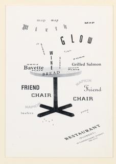 Postcard, Mirth, Advertisement for Restaurant Florent, New York, NY