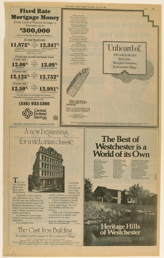 The advertisement occupies the upper half of the page and is placed in two-thirds of the horizontal space, ending at the right edge. A bordered rectangle, centered in the right half, is superimposed on a curved blob in a Memphis studio-style all-over pattern. Within the rectangle, Unheard of, in large upper and lower case type, is followed underneath by four lines of copy. On the left, a column of copy appears in the upper half, followed underneath by a cartoon-like sketch of the Memphis condominiums) downtown building, placed on the diagonal, upper right to lower left. Memphis [logo]/ downtown, followed by the address, is underneath.