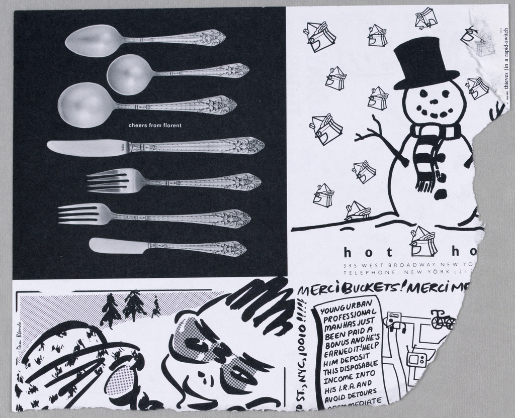 An image of seven pieces of silver flatware in an ornate pattern, in a horizontal arrangement, one piece per line, is depicted on a black backgrond. In the space between the soupspoon and knife, that is, the third and fourth lines, cheers from florent is imprinted in small, lowercase, white type. M&Co is imprinted on the knife blade just above the handle.
