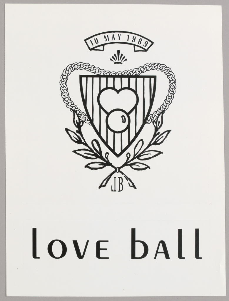 The design features a heart and circle, superimposed on a shield-shaped field, vertically striped. The whole is enclosed within a heart shape, formed by a chain in the upper half and a branch-and-leaf design in the bottom half. The initials LB, with the L in reverse formation, are imprinted at the intersection of the branches. Just above the logo is a crown-shaped pictograph and above that is a curved strip, within which is the date of the Love Ball. Love Ball, in mixed upper and lower base, appears all across the lower part of the page.