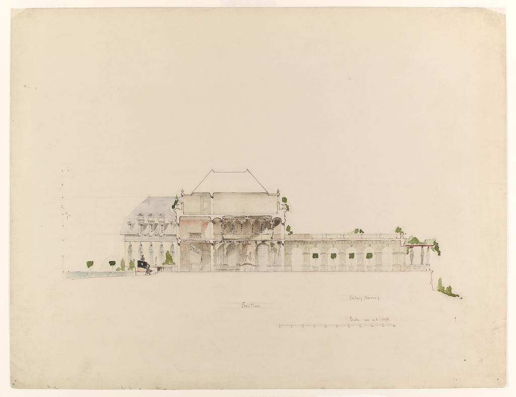 Elevation, executed in delicate watercolor washes, showing the central part of the building and the terrace.  A coach stands at left in front of the elevation of the back part.  Below image, a scale and numerical annotations.